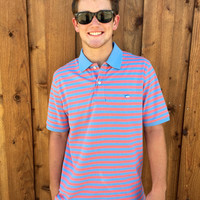Southern Tide Yacht Stripe Skipjack Polo- Ocean and Coral