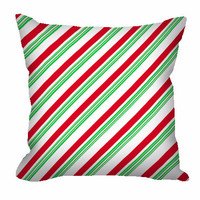 Christmas Throw Pillow in candy cane stripes, red and green