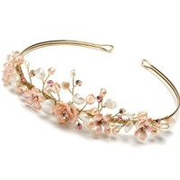 USABride Wedding Tiara with Gold Tone, Pink Flowers & Crystals and Fresh Water Pearls 754G