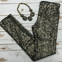 Sequin Leggings: Black/Gold