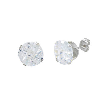 Round Invisible Cut Earrings Clear CZ Studs .925 Silver Cross Cubic Zirconia