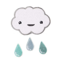 Cloud and Raindrops Iron-On Patch Set