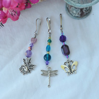 Zipper charm set; girl gift; butterfly; dragonfly; fairy; purse charm; keyring fob; car ornament; purple charm; blue charm; nature charms