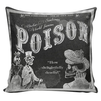 Halloween Decor Cushion Pillow Skeleton Strychnine Poison Label Chalkboard Cotton and Burlap HA-70 RavenQuoth All Hallow's Eve Home Decor