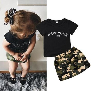 born Kid Baby Girl clothes round neck short sleeve letter print Top Camouflage Button pocket Skirts 2pc Toddler cotton Outfit