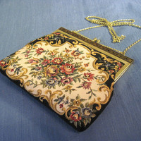 Victorian style vintage floral tapestry purse, upcycled womens handbag shoulder bag with gold color chain evening purse formal clutch