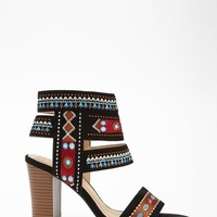 Faux Suede Tribal-Inspired Heels
