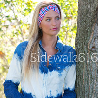 Red and Blue Plaid Headband