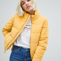 Pull&bear cordruoy padded jacket in yellow at asos.com