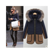 Autumn Winter Women Slim Fur Hooded Outerwear Jacket a13030