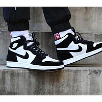 NIKE Air Jordan Popular Men Women High Top Sport Shoes Sneakers Black&White