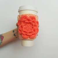 Crochet Irish Rose Coffee Cozy in Peach with Mango Rose, ready to ship.