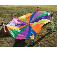 2m Kids Play Rainbow Outdoor 8 Handles Parachute Multicolor Nylon Kids Toy Parachute Suitable For 4-8 people Outdoor Fun Sports