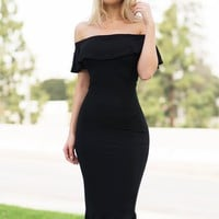 Analia Off Shoulder Dress - Black