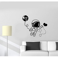 Wall Decal Astronaut Space Man Universe Love Moon Way Feelings Attraction Valentine's Day Vinyl Sticker Unique Gift (ed639)