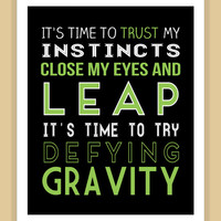 Wicked DEFY GRAVITY Quote modern print poster
