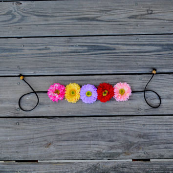 Multi Colored Flower Crown Colorful Daisy Floral Crown Flower Halo Bohemian Floral Hippie Headpiece Festival Crown Summer Headband Hipster