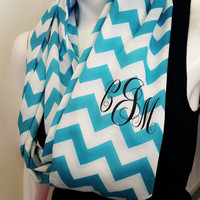 Personalized infinity scarf- monogram- scarves- Chevron scarfs- Chevron inifinity scarf- infinity scarves