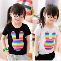New Arrival Kids Girls Summer Cotton Lovely Bunny Ears Image Short Sleeve T-shirt Childre's Clothing T-shirt