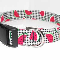 Black and White Plaid Dog Collar with Red and Green Watermelon