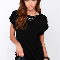 Roll With It Black Tee