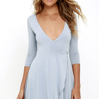 Sway the Night Blue Grey Wrap Dress