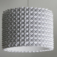 Large Faceted Drum Shade White Folded Paper by Zipper8Lighting