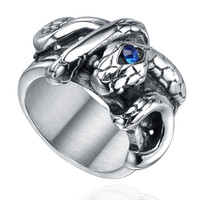 Stainless Steel Gothic Snake W. Blue Crystal Ring