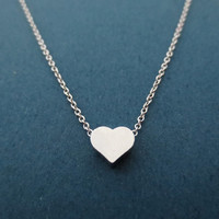 Simple, Silver, Heart, Necklace