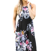 Fall in Love with Floral Print Boho Dress in Black