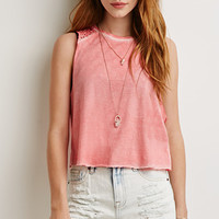 Embroidered Lace-Trimmed Muscle Tee