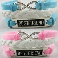 2pcs White Leather Simple Bracelet Infinite Best Friend Bangle Pink Skyblue Suede
