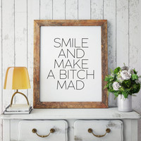 Motivational quote Wall artwork Teen gift Word Sign Inspirational art,Bitch quote, Bitches Inspirational Quote - Motivational Quote