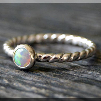 Sterling Silver Birthstone Ring, Choose Your Birthstone, Stacking Gemstone Ring, Twisted Shank Ring, Layering Ring, Inverted Setting