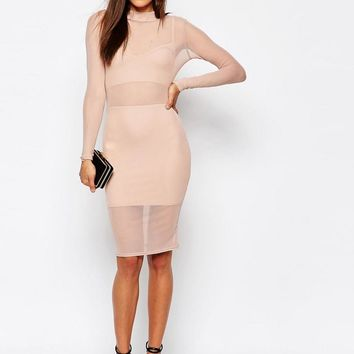 Missguided   Missguided Mesh High Neck Bodycon Dress at ASOS