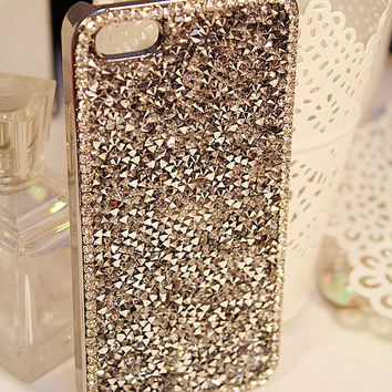 Gold Bling iPhone Cases Rhinestone iPhone 5 Case, iPhone 5s iPhone 4 Samsung Galaxy s3 Case Bling Phone Cover iPhone 4S Case sparkly cover