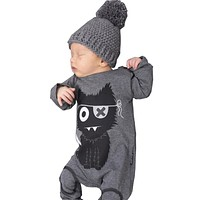 2018 Spring Baby Boy Clothes Romper Gray Long Sleeve Cotton Cartoon One Piece Clothing Baby Boys Jumpsuit