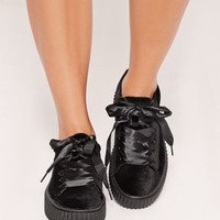 Missguided - Satin Lace Up Velvet Flatforms Black