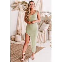 True Confidence Ribbed Side-Cut Bodycon Dress (Light Olive)