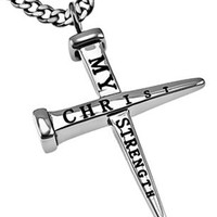 Christ My Strength Nail Cross Necklace | Mardel