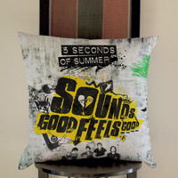 5 Second Of Summer Sound Good Pillow, Pillow Case, Pillow Cover, 16 x 16 Inch One Side, 16 x 16 Inch Two Side, 18 x 18 Inch One Side, 18 x 18 Inch Two Side, 20 x 20 Inch One Side, 20 x 20 Inch Two Side