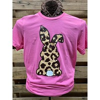 Southern Chics Apparel Leopard Bunny Rabbit Easter Canvas Girlie Bright T Shirt