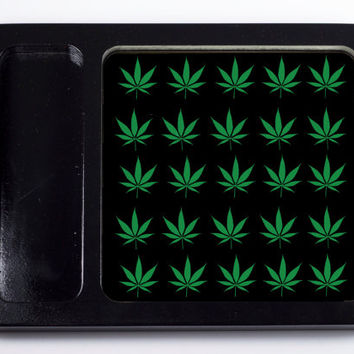 Green pot leaf pattern rolling tray printed with scratch and heat resistant ink - cannabis, potleaf, 420, weed