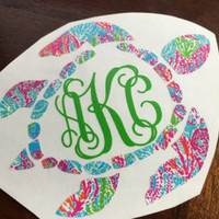 Lilly Pulitzer Sea Turtle Monogram Decal | Turtle Monogram | Circle Monogram | Turtle Decal | Monogram Decal | Car Decal | Yeti Decal