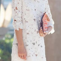 White Floral Lace Half Sleeve Dress