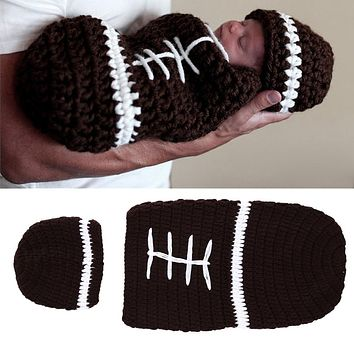 born Photography Props Handmade Infant Rugby Cap Baby Cap Warm Kids Hats Knitted Costume Set born Sleeping Bag