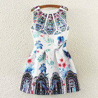 Mosaic And Floral Print Sleeveless Pleated Dress