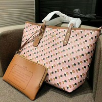 Coach High Quality Newest Popular Women Shopping Bag Leather Handbag Tote Shoulder Bag Purse Wallet Two-Piece Set