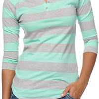 Zine Heather Grey & Ice Green Rugby Stripe Henley Baseball Tee Shirt