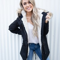 Navy Faux-Fur Hooded Parka Jacket